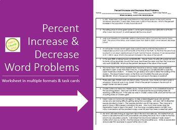 Percent Increase and Decrease Word Problems Worksheet & Ta