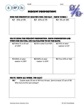 Percent Proportion Worksheet #2