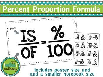 Percent Proportions Formula {poster & handout sizes}