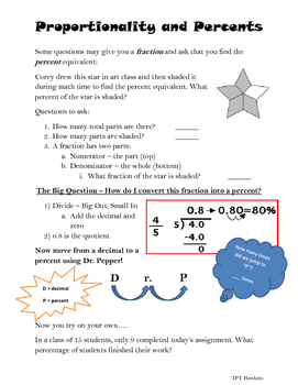 Percent Proportions Re-Teach Guided Notes
