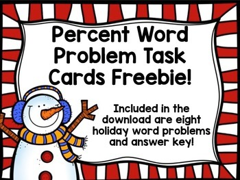 Percent Word Problem Task Cards FREEBIE