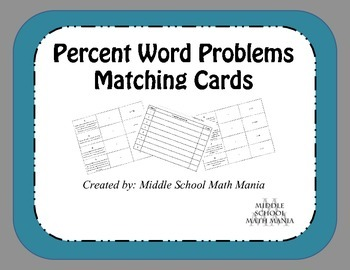 Percent Word Problems-Matching Cards
