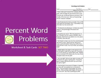Percent Word Problems Worksheet 2 - Practice, Assessment T