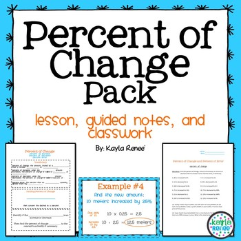 Percent of Change Pack: 7.RP.3