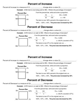Percent of Increase and Decrease Guided Notes