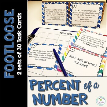 Percent of a Number Task Cards - Footloose Activity (2 set