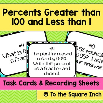 Percents Greater than 100 and Less than 1 Task Cards