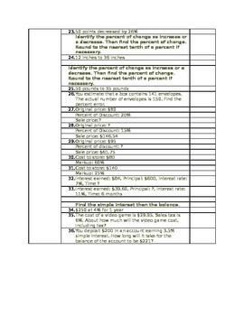 Percents Jeopardy Worksheet