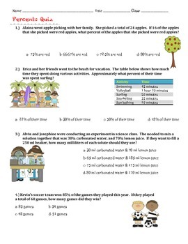 Percents Quiz or Review  7th Grade Math