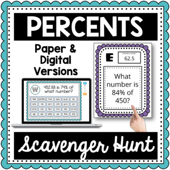 Percents Scavenger Hunt-Percent Proportion or Percent Equa