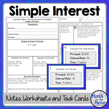 Percents - Simple Interest - Notes and Worksheet