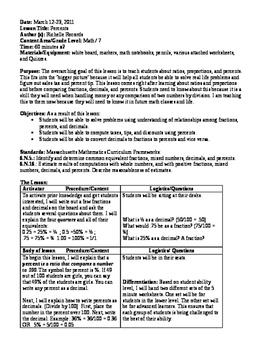 Percents Unit Plan (7th Grade Math)