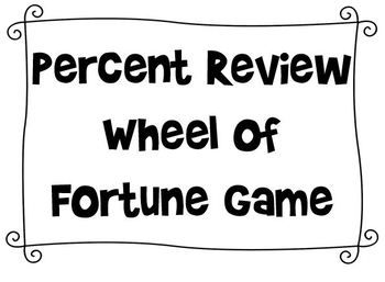 Percents Wheel of Fortune Review Game