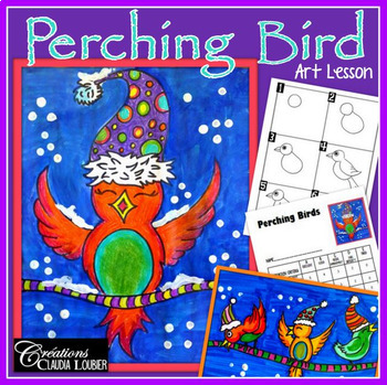 Winter Art Activity and Lesson Plan for Kids: Perching Bir