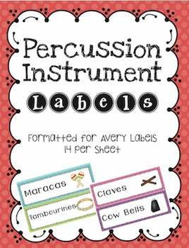 Percussion Instrument Labels Avery 14 per Sheet Stickers
