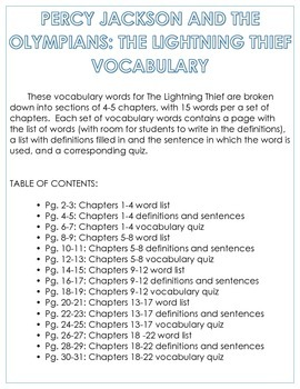 Percy Jackson and The Olympians: The Lightning Thief Vocabulary
