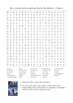 Percy Jackson and the Lightning Thief - Word Search Chapter 1
