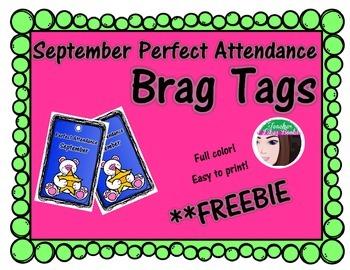 Perfect Attendance Brag Tags September - FREEBIE