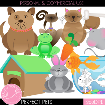 Perfect Pets Clip Art Set (color & black and white)