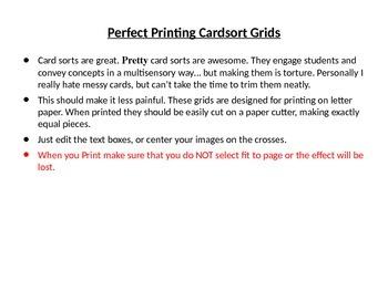 Perfect Printing Cardsort Grids