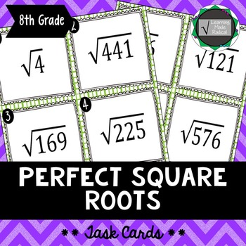 Perfect Square Root Task Cards 8.EE.A2