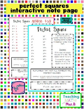 Perfect Squares Notebook Page