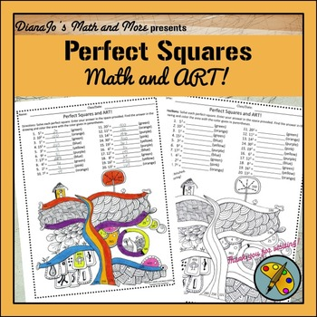 8th Grade Math Perfect Squares and Art Worksheet