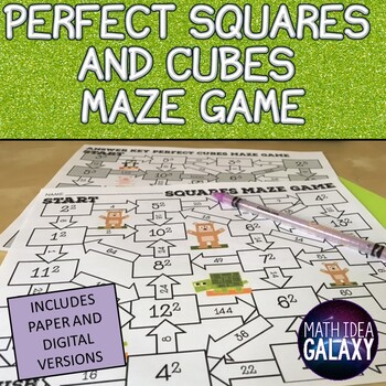 Perfect Squares and Cubes Exponent Maze Game