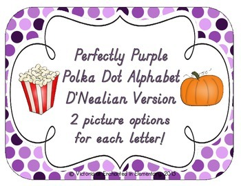 Perfectly Purple Polka Dot Alphabet Cards: D'Nealian Version