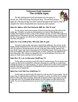 Performance Based Assessment Middle Ages