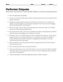 Performer Etiquette Information