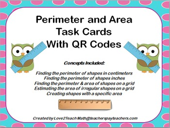 Perimeter & Area Task Cards with QR Codes
