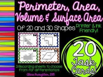 Perimeter, Area, Volume & Surface Area Task Cards