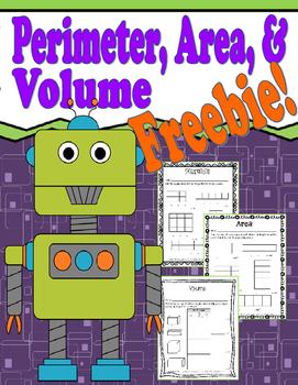 Perimeter, Area, and Volume Freebie