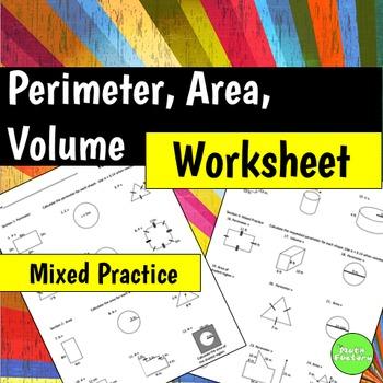 Perimeter Area Volume Geometry Worksheet
