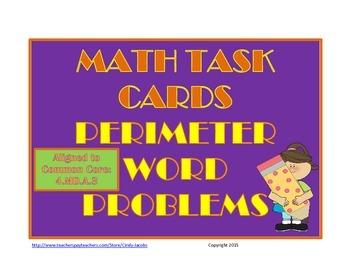 Perimeter Word Problem Task Cards, Math Task Cards