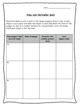 Perimeter and Area Quiz