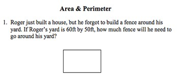 Perimeter and Area Quizzes/Homework