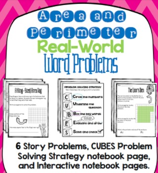 Perimeter and Area Word Problems, Notebook Pages, and Prob