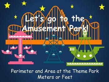 Perimeter and Area at the Amusement Park - Measure in Mete