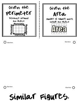 Perimeter and Area of Similar Figures Foldable