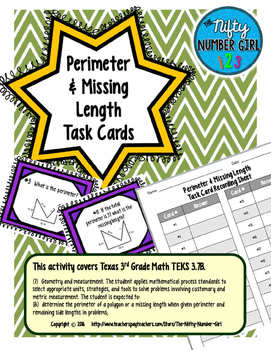 Perimeter and Missing Length Task Cards TEKS 3.7B