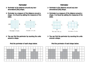 Perimeter notes for math notebook