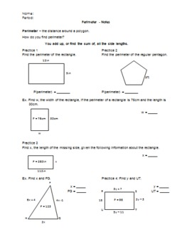 Perimeter of Polygons Notes