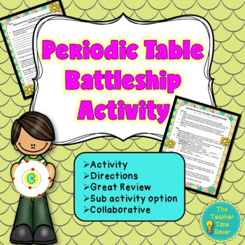 Periodic Table Battleship Game Activity (directions and wo