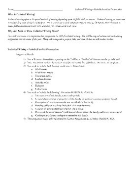 Periodic Table Families Project - Technical Writing Assignment