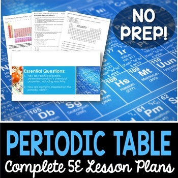 Periodic Table and Reactivity Complete 5E Lesson Plan