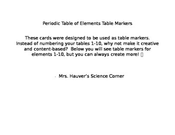 Periodic Table of Elements Table Markers