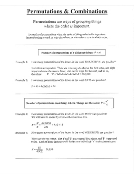 Permutations and Combinations order notes examples practice