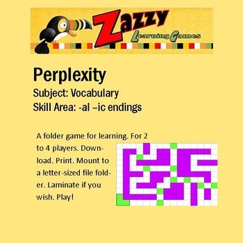 Perplexity Folder Game Vocabulary -al, -ic endings